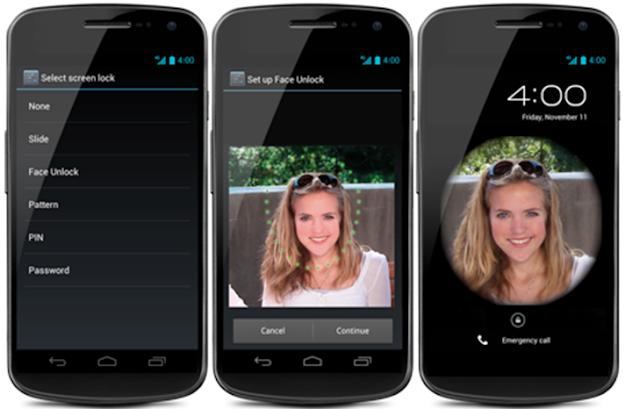 Facial recognition lock screen