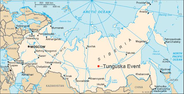 Bản đồ thể hiện vị trí gần đúng của vụ nổ Tunguska năm 1908.