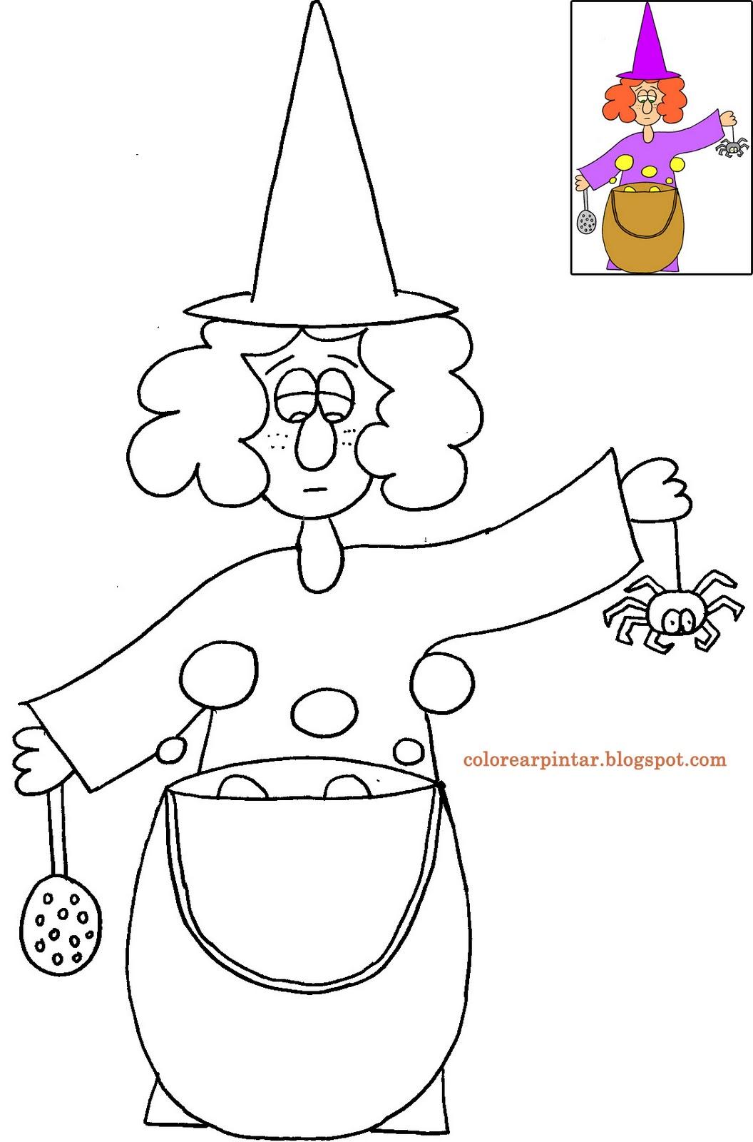 Dibujos - Fondos de escritorio - Imagenes: Bruja y caldero para colorear