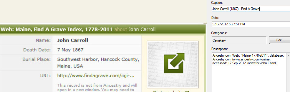 Family Tree Maker User: Find-A-Grave - Select a Source Template