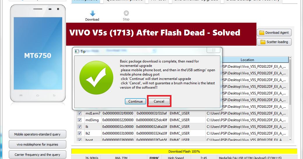 VIVO V5s (1713) After Flash Dead - Solved - Free Computer Tricks