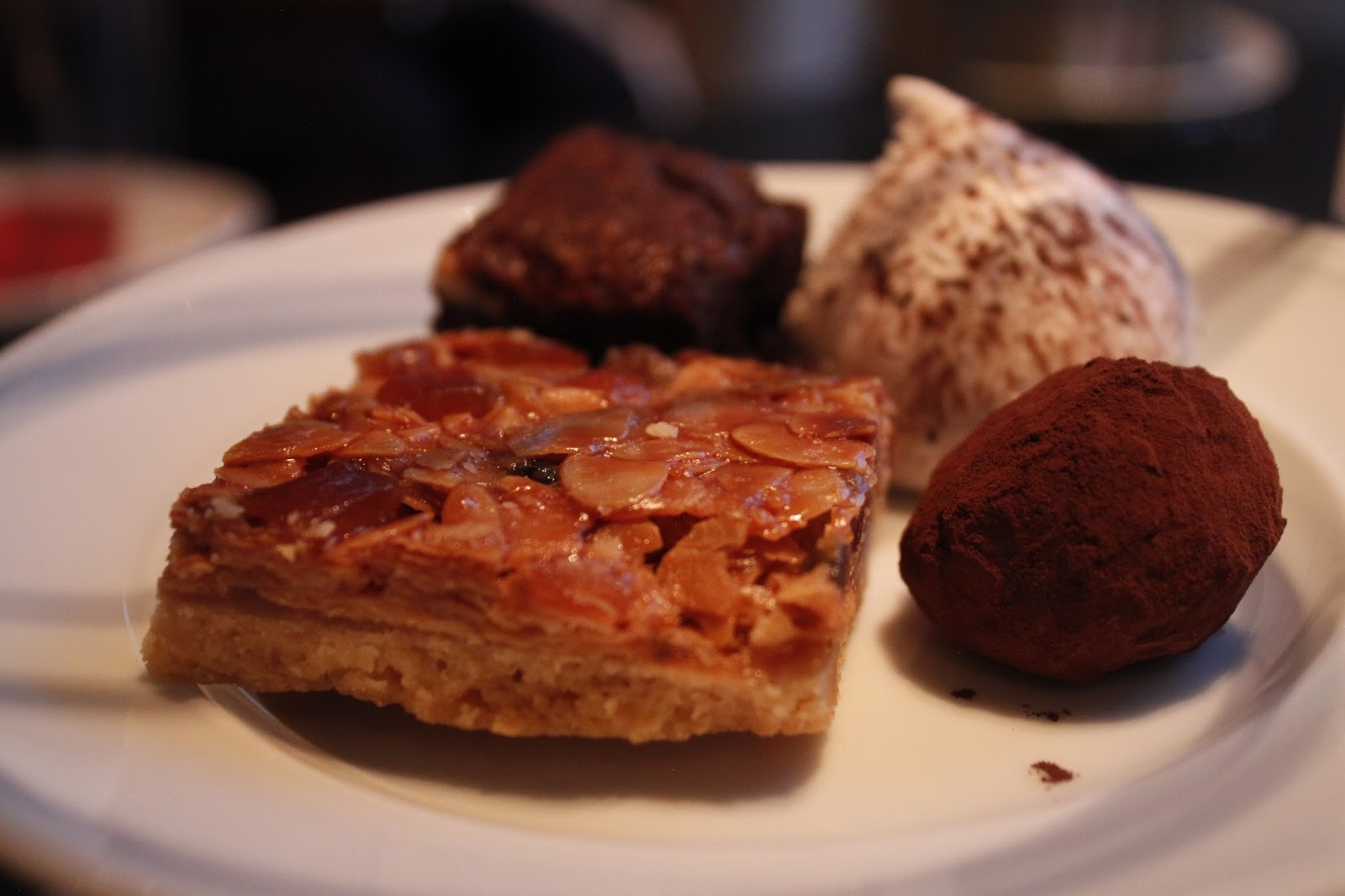 Afternoon tea at Bluesoon, Amsterdam- Pecan pie, chocolate truffle and cakes.