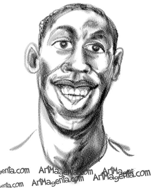 Usain Bolt is a caricature by caricaturist Artmagenta