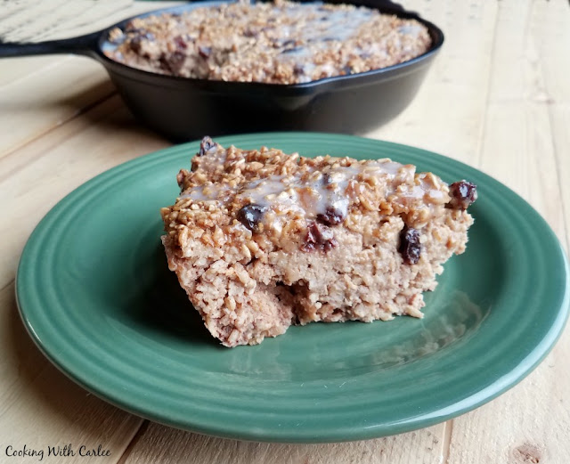 slice of baked oatmeal with raisins