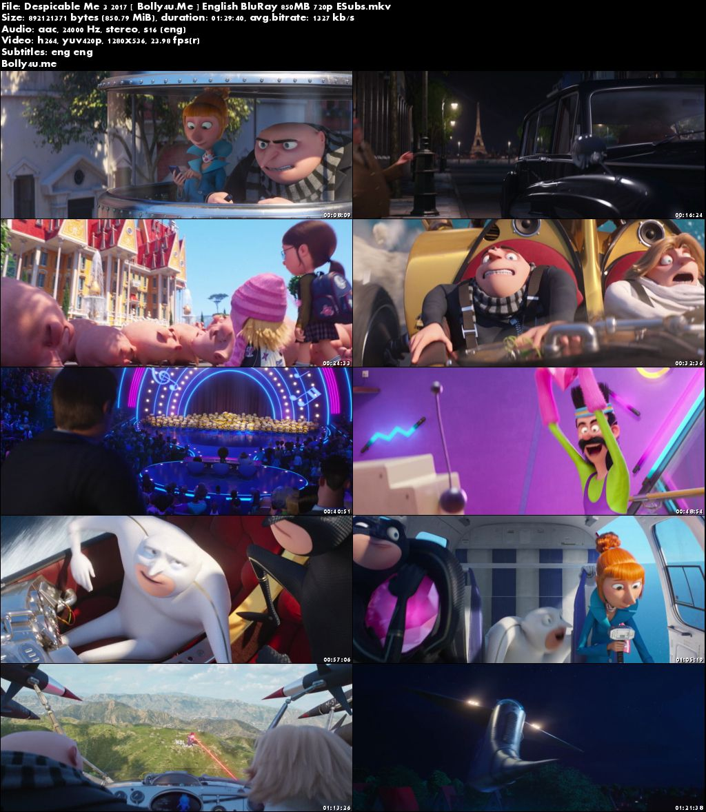 Despicable Me 3 2017 BluRay 850Mb English 720p ESubs Download