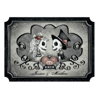 Halloween Gothic Gray & Black Halloween Skeletons Wedding Invitation Template