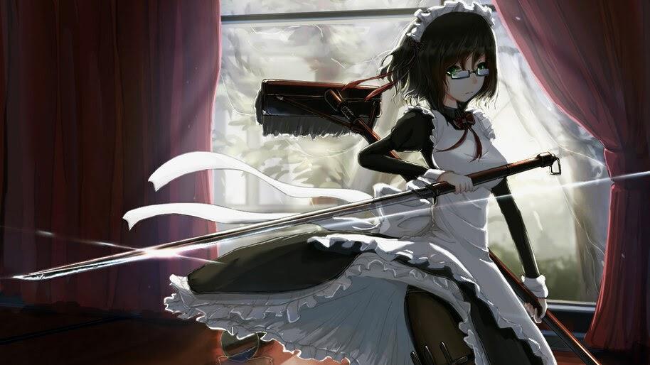 Anime, Girl, Glasses, Maid, Sword, 4K, #302