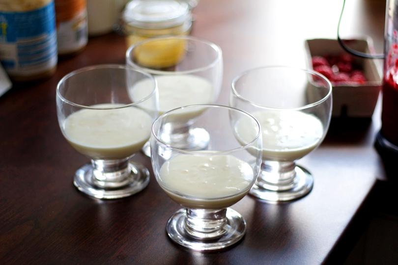 danone, jogurt naturalny, fit przepis, panna cotta, żelatyna, deser, izolat, odżywka białkowa, dieta, miód, maliny, mus malinowy, lifestyle,