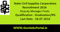 State Civil Supplies Corporation Recruitment 2016 for Deputy Managers Apply Online Here