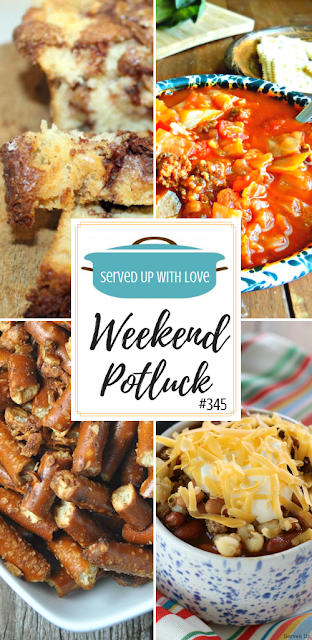 Apple Fritter Bread, Stuffed Cabbage Soup, Crock Pot Onion Garlic Pretzels, and Crock Pot Taco Soup are all featured recipes at Weekend Potluck over at Served Up With Love.