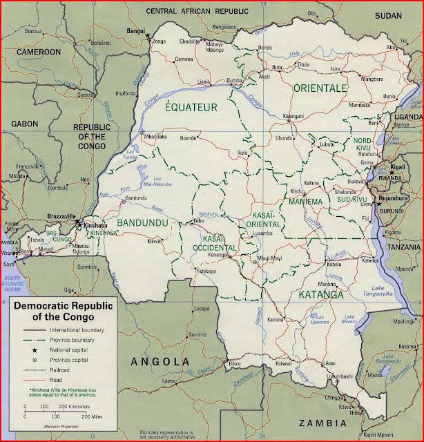 Gambar Peta politik Republik Demokratik Kongo