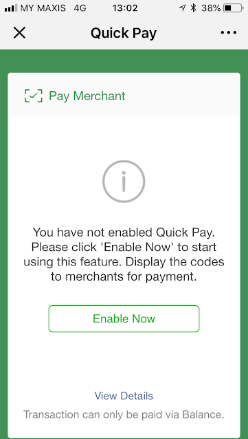 WeChat Pay: enable Quick Pay