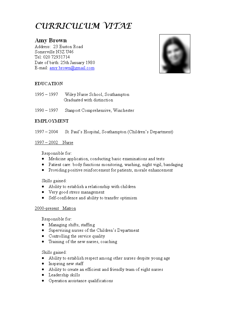 Contoh Curriculum Vitae Format Bahasa Inggris Smp Free Resume