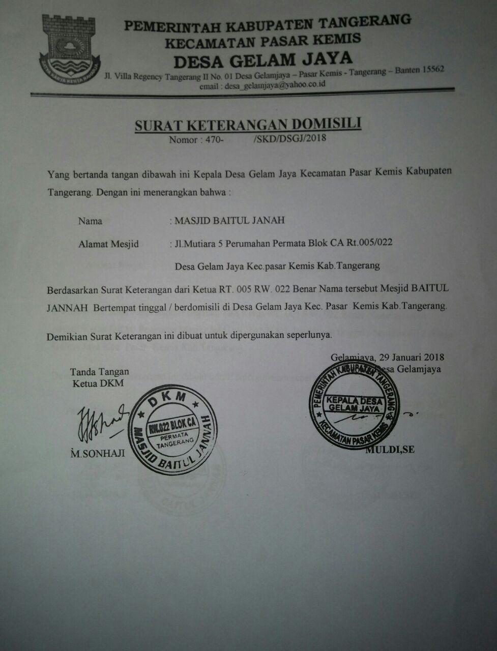 Masjid Baitul Jannah Rw022 Perum Permata Tangerang Surat