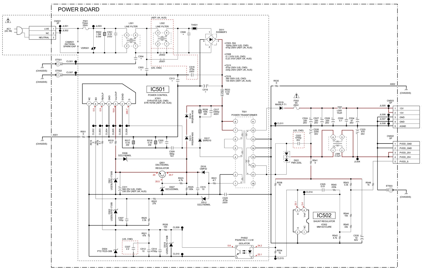 power supply and power amplifier circuit diagram pwb [ 1600 x 1050 Pixel ]