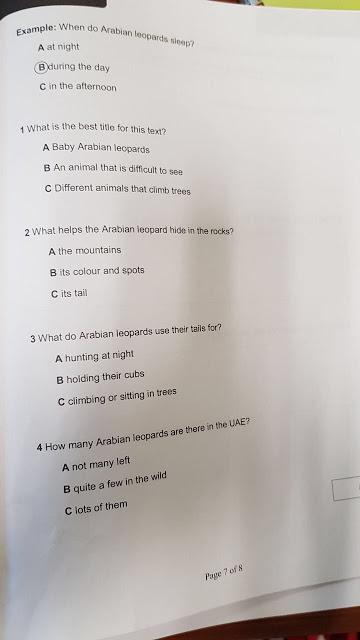 الامتحان الوزاري لمادة اللغة الانجليزية للصف الرابع نهاية الفصل الدراسي الأول