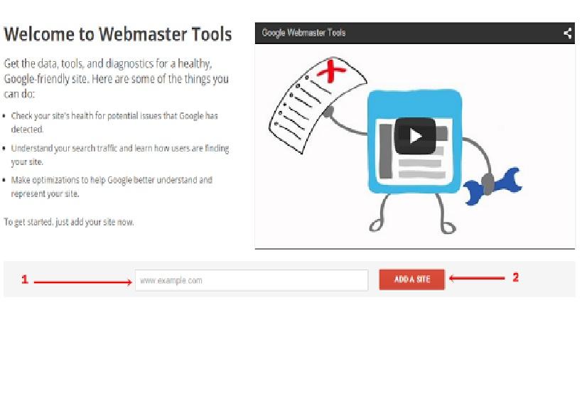 input google webmaster url
