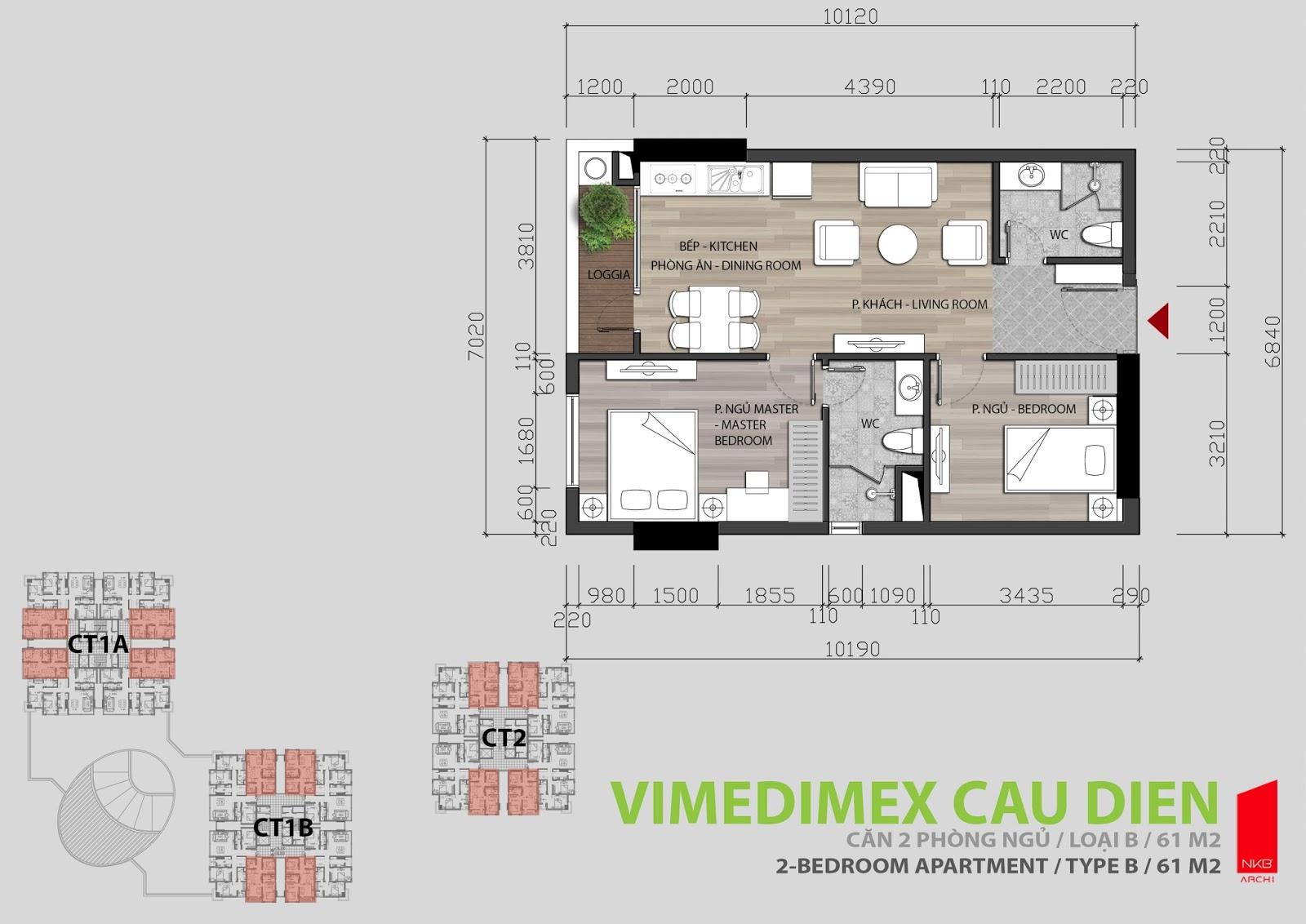 Thiết kế căn hộ 2 phòng ngủ 61m2 Iris Garden