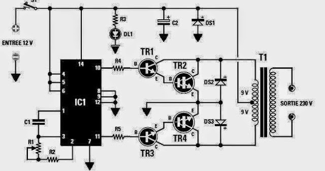 electrical and electronics engineering  converter 12 vdc to 230 vac or inverter circuit diagram