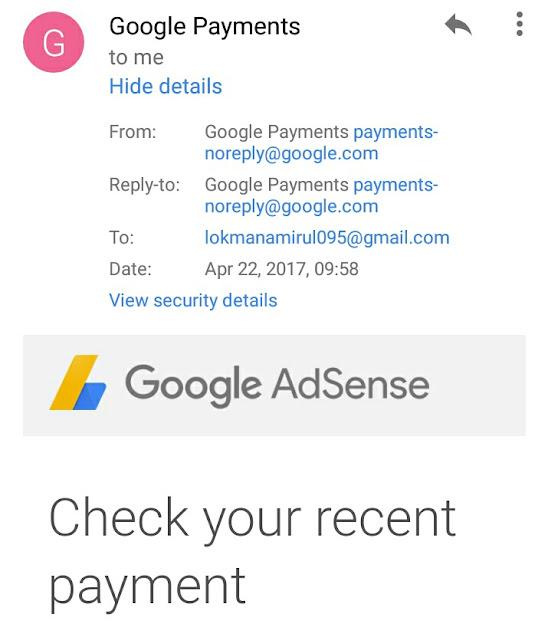 Bukti Payment Google Adsense Mac 2017