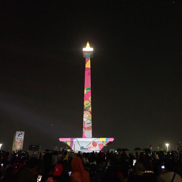 Video Mapping di Monas untuk Menyemarakkan Asian Games 2018