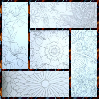 Stress Less Paint-By-Number Flowers kit sample pages