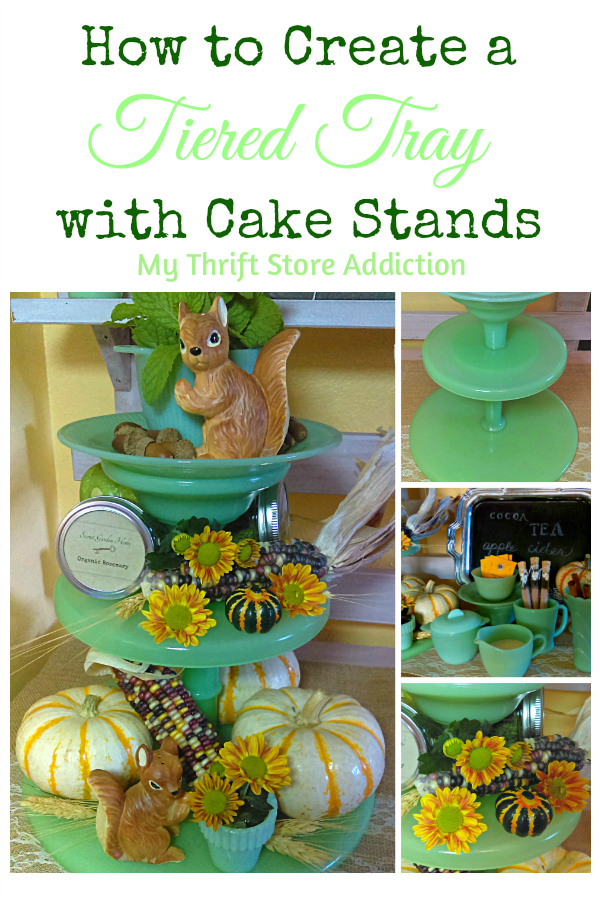Tiered tray created with cake stands
