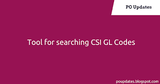 Easy Tool for searching CSI GL Codes