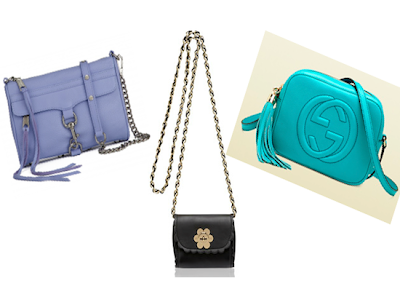 Clockwise from Left: Rebecca Minkoff Mini MAC, Mulberry Mini Flower Bag and Gucci Soho Disco Bag