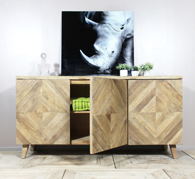 buffet en bois chevrons - Made in Meubles