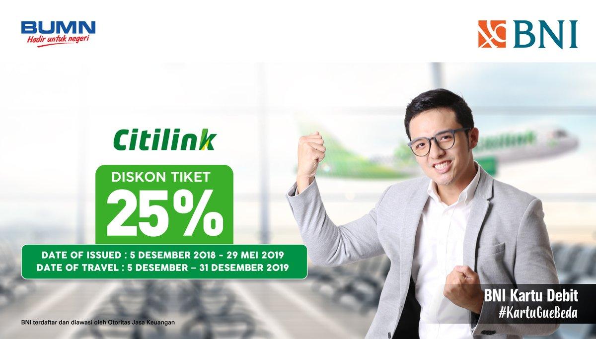 #BankBNI - Promo Diskon 25% Setiap Rabu di Citilink Pakai Debit BNI (s.d 29 Mei 2019)