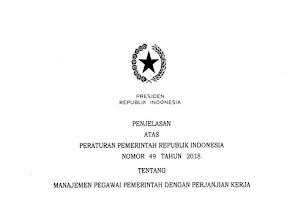 PP No 49 Tahun 2018 tentang Manajemen PPPK ASN CPNS