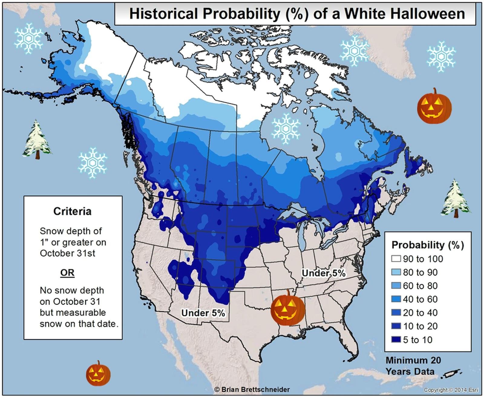 Historical probability of white Halloween