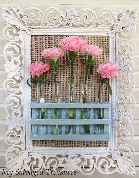 create a hanging bud vase display with chemistry test tubes