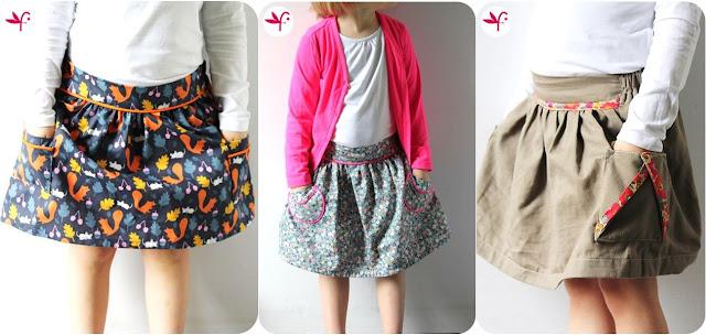 Trio de jupe Poulette avec poches - Photo portée