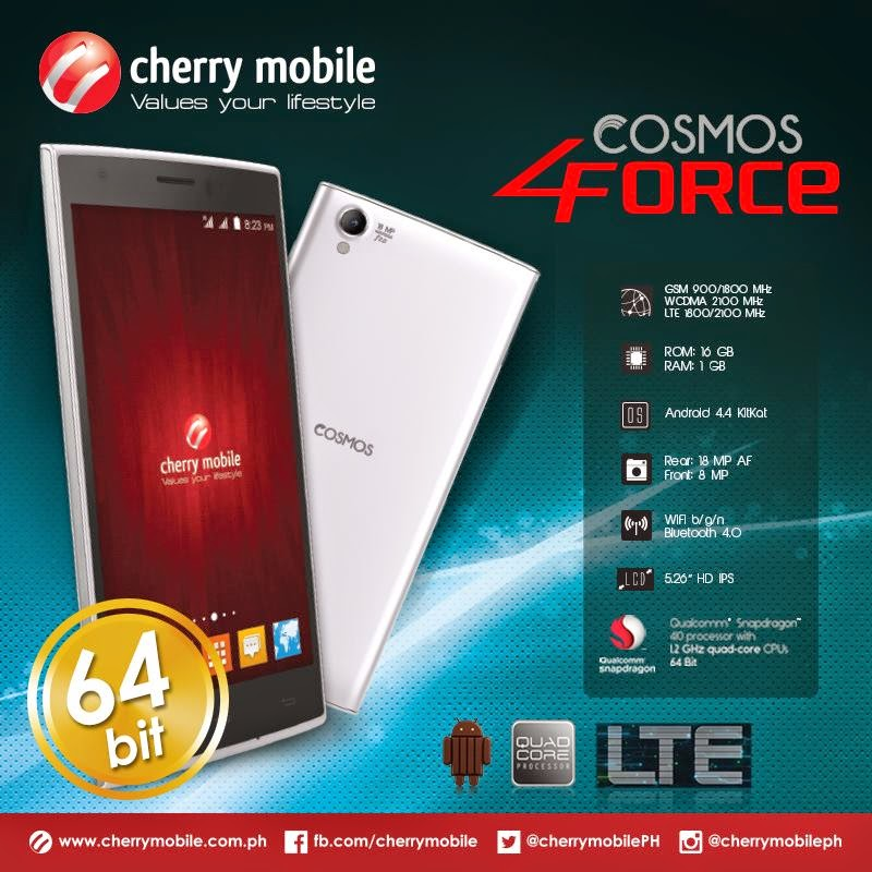 7e0d1d18eab Cherry Mobile Cosmos Force (4orce) is a 64-Bit Quad-Core Smartphone with  LTE for ₱6