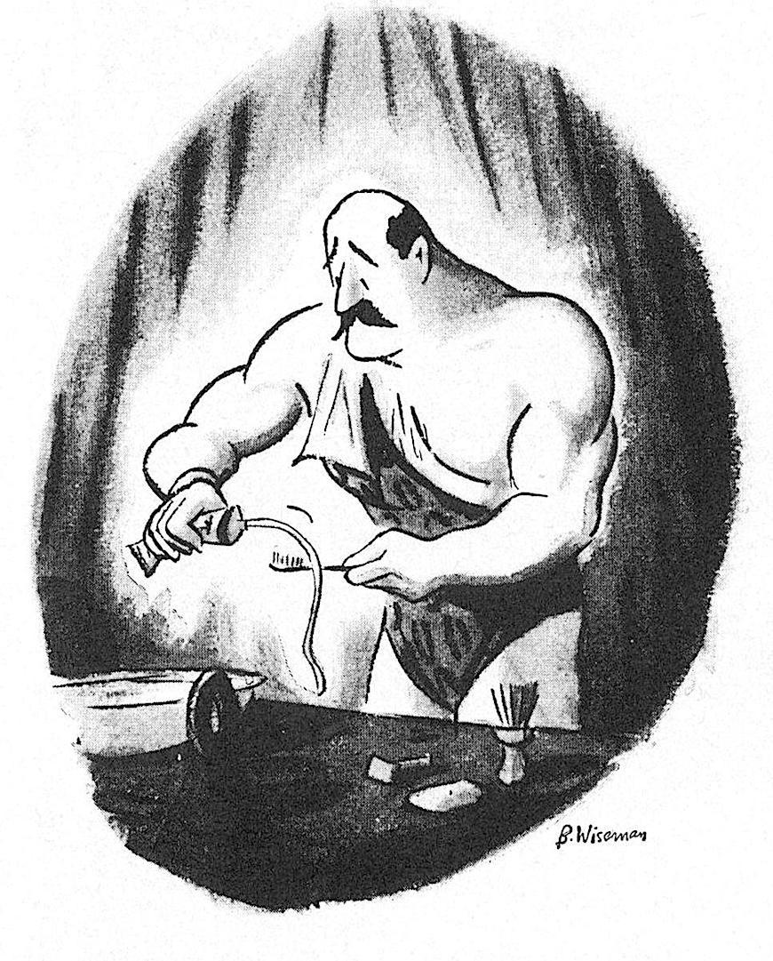 a B. Wiseman cartoon about a circus strongman