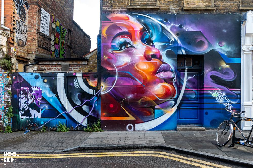 Mr.Cenz Street Art mural on Heneage Stree, part of the Hookedblog's Brick Lane Street Art Tour -