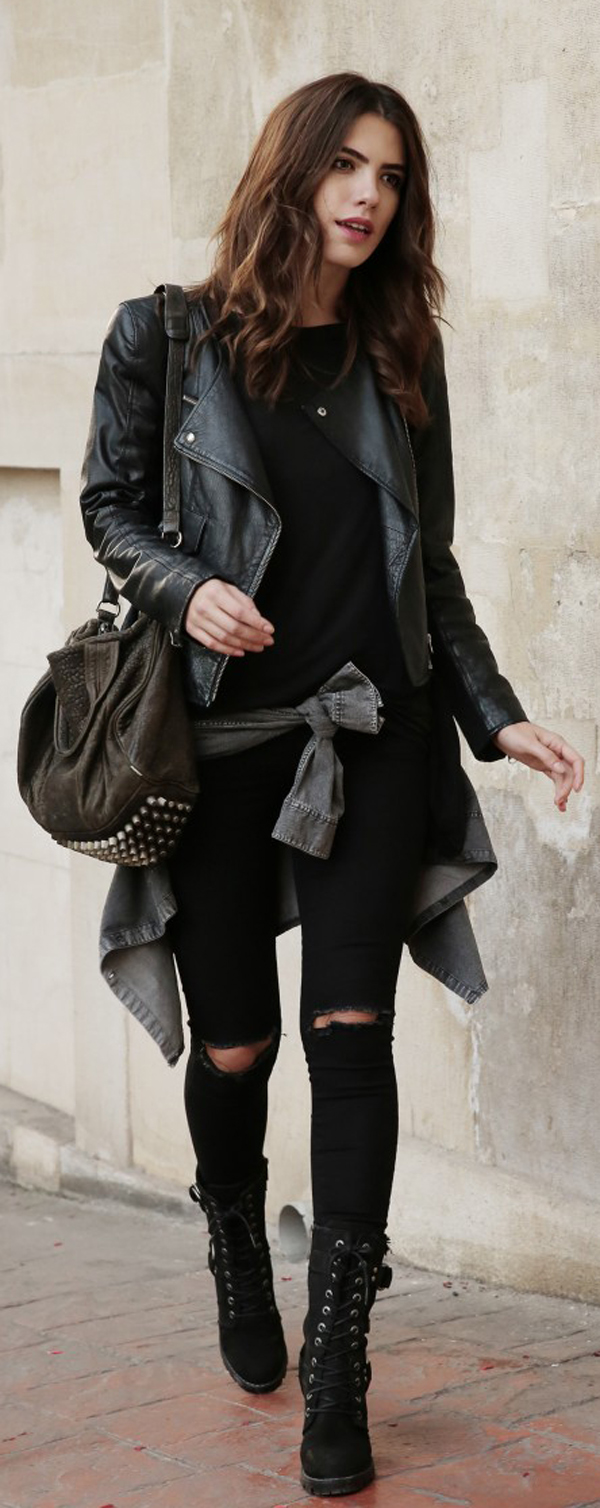 skinny jeans + black jacket
