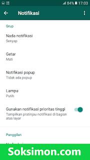 Nonaktifkan notifikasi grup WA