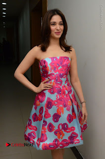 Actress Tamanna Latest Images in Floral Short Dress at Okkadochadu Movie Promotions  0053.JPG