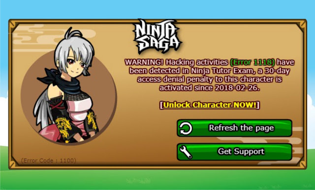 Character Ninja Saga Kena Banned, banned, ninja tutor exam, cheat penalty, locked 30 day