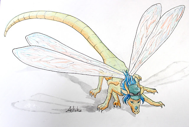 "commission d'un dragon libelule ""dragonfly"" - aquarelle"