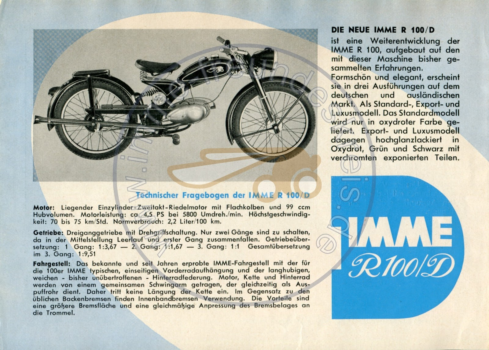 Imme R100/D Motorcycle Brochure