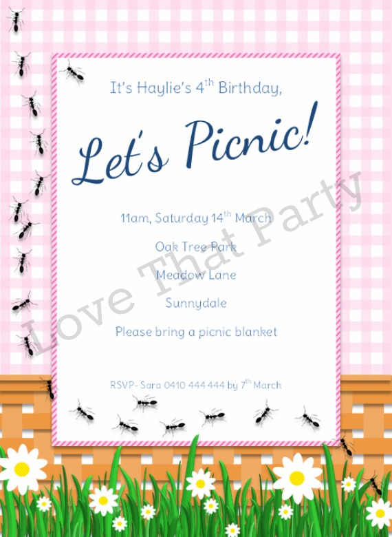 girls picnic party birthday invitation