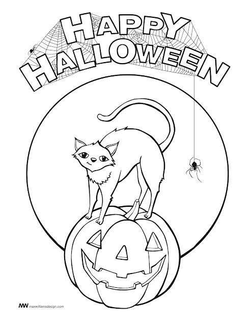 Free happy halloween coloring pages template for print kids and Adults