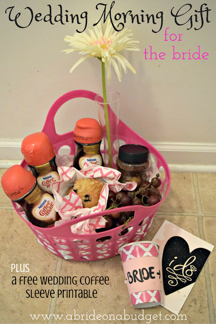 If you're a bridesmaid, you're probably looking for a good gift idea to bring your bride on the morning of her wedding. This gift basket from www.abrideonbudget.com is a great idea. #SipInduglence #spon