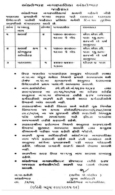 Ankleshwar Nagarpalika various Recruitment 2016