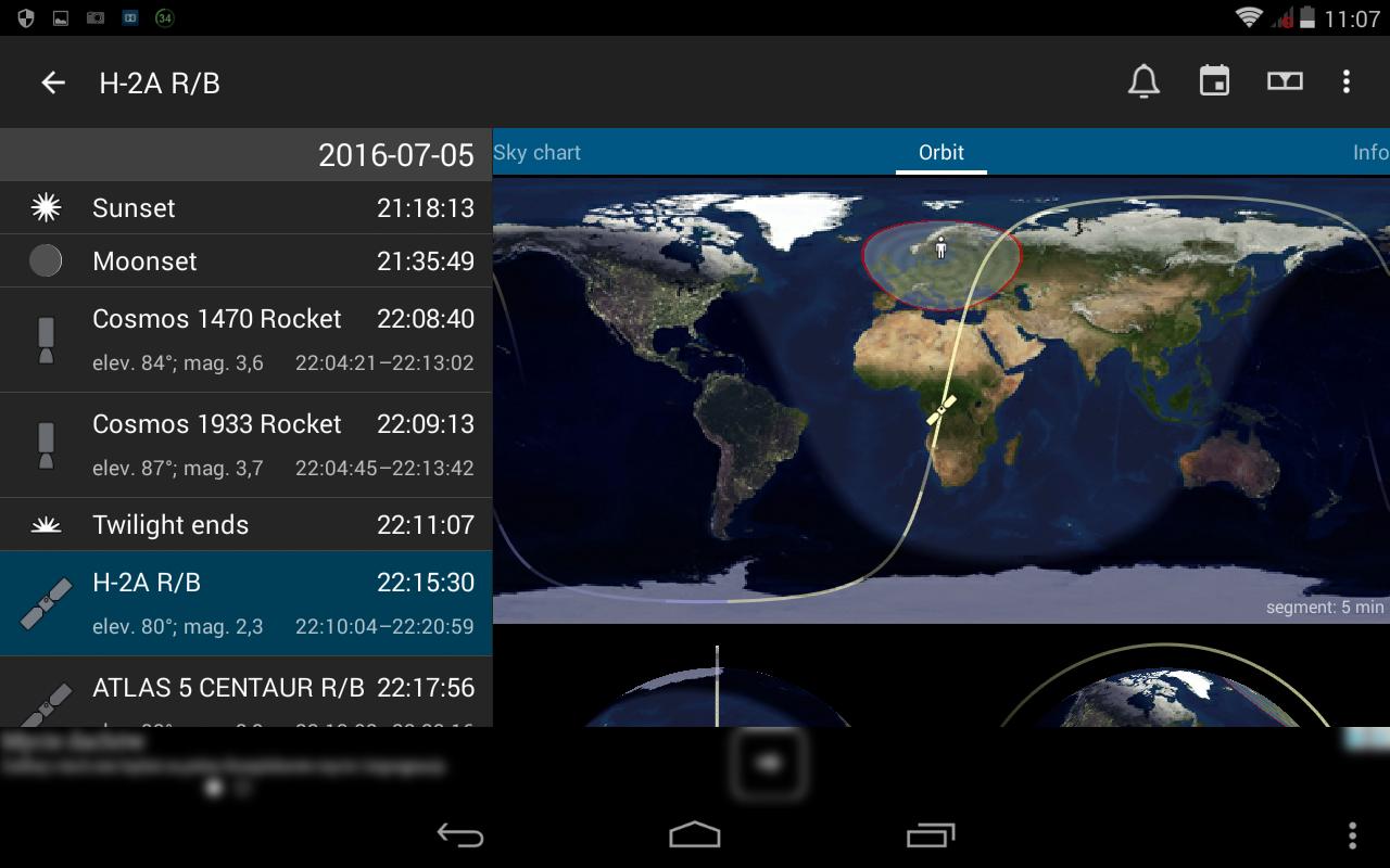 5. Szczegóły wybranego przelotu satelity - orbita z wyszczególnieniem strefy widoczności z anszej lokalizacji