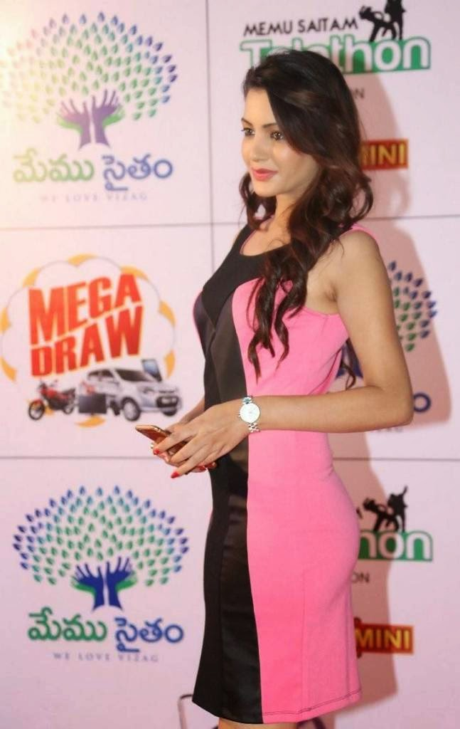 High Quality Deeksha Panth Pics, Deeksha Panth Hot HD Pics in Pink Dress